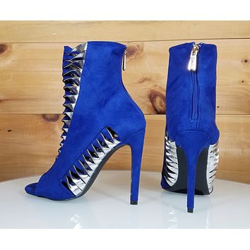"""CR Alza Blue Cut Out Silver Twist Design 4.25"""" High Heel Ankle Boots Shoe"""