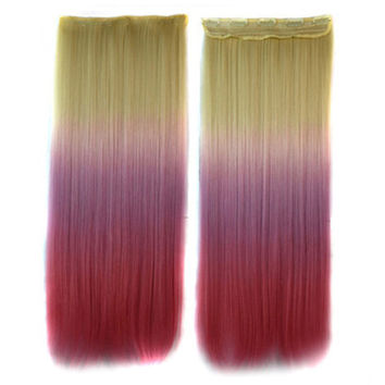 5 Cards Hair Extension 3 Colors Gradient Ramp Wig beige taro purple light pink