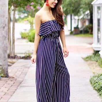 Mad Love Strapless Striped Tube Jumpsuit (Navy)