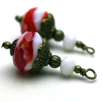 Vintage Style Lampwork Earring Dangle Drop Charm Pendant in Red and White with Bronze - 2 Pieces