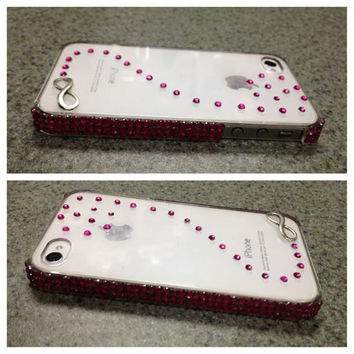 Iphone 4 / 4s case, silver infinity sign phone case, pink iphone 4 case