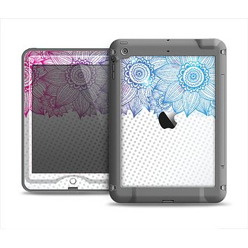 The Vibrant Vintage Polka & Sketch Pink-Blue Floral Apple iPad Mini LifeProof Nuud Case Skin Set