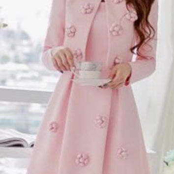 Stylish Scoop Neck Long Sleeve Stereo Flower Embellished Blazer + Sleeveless Dress Twinset For Women