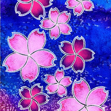 Cherry Blossom, Art, Flowers, Pink Purple, Japanese, Oriental, Hippie, Vibrant, Colorful, Inks, Happy, Positive, Gift, Affordable, Kitsch,