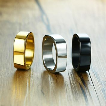 Fashion 7mm Black Gold Silver Color Stainless Steel Trendy Rings For Boy and Boy Friendship Men Ring Simple Jewelry Ring Male
