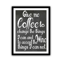 Coffee Kitchen Art Typography Chalkboard Poster Wall Decor