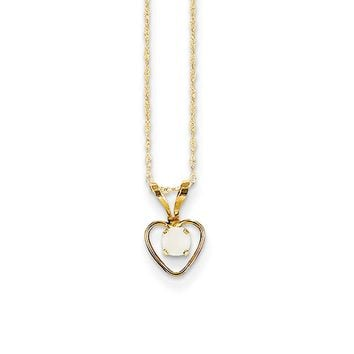 3mm Opal Birthstone 14k Yellow Gold Heart Necklace - 15 Inch
