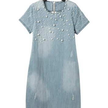 2018 Summer Loose Blue Jeans Dresses for Women Plus Size Short Sleeve O Neck Women Denim Dress Washed Vestidos 4XL 5XL 50