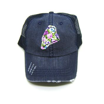 Maine Hat - Distressed Trucker Hat - Floral Fabric - Many Fabric Choices