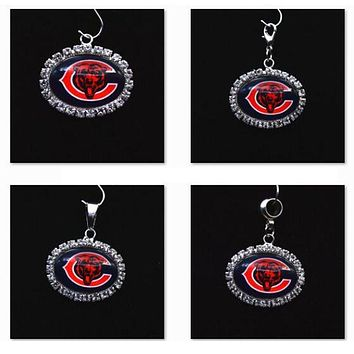 Silver Pendant Charms Rhinestone Chicago Bears Charms for Bracelet Necklace for Women Men Football Fans Paty Fashion 2017