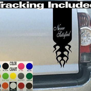 Never Satisfied Tailgate Stripe Decal Sticker 4x4 Diesel Truck SUV