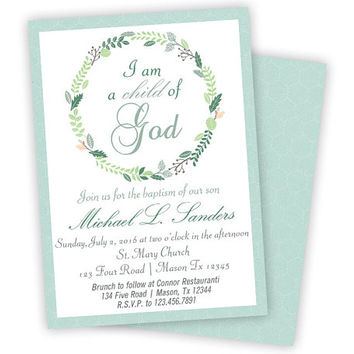 Baptism Invitation Boy - Boy Baptism Invitations - Child of God - Religious - Christening - First Communion - Mint Blue - Boys Baby