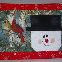 2 Slice Toaster Cover with Snowman and Cardinals. Christmas Toaster Cover. Red Toaster Cover with Snowman