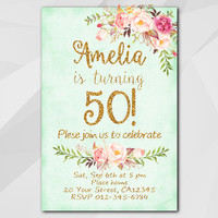 50th Birthday Invitation, Turquoise Gold Invitation, Any age 13th 18th 21st 30th 40th 50th, Custom invitation XA302t