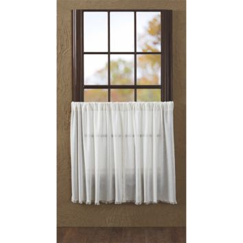 Tobacco Cloth - Antique White Fringed - Tier (Set of 2) - 36x36 - Window Treatment