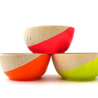 Set of three neon wood bowls, painted wood bowls, neon and wood, ring bowl, ring dish, ring cup
