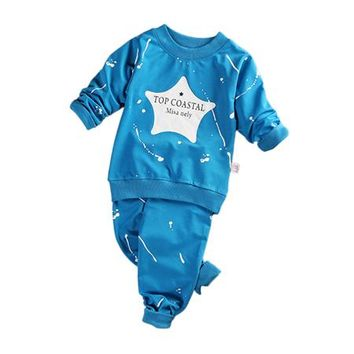 2PCS New Style Baby's Long-sleeved Sweats Set Children Sweatsuit Outfits Star Pattern Toddler Sweater for Boys and Girls Kids