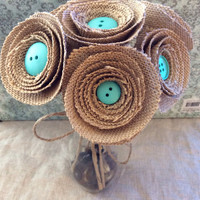 Bouquet burlap flowers country wedding home decor shabby chic baby shower