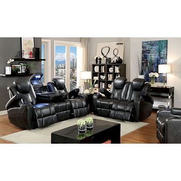 Janis Contemporary Breathable Leather Recliner Sofa, Dark Gray