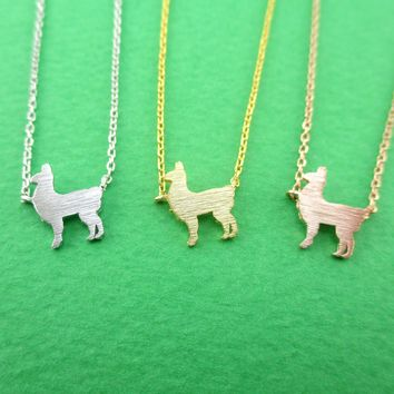 Minimal Llama Alpaca Shaped Silhouette Pendant Necklace