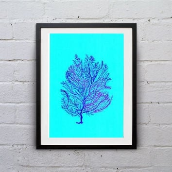 Sea fan coral Blue watercolor painting wall art print beach seaweed grass poster decor bathroom decal print art large small aqua blue coral
