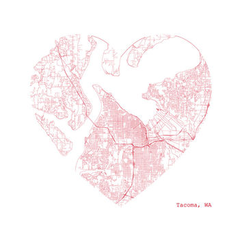 Tacoma Heart for a City Map Print