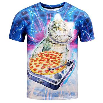Kitty Cat DJaying a Pizza against a Lightning Background Graphic Print T-Shirt