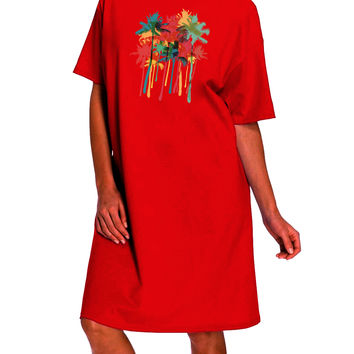 Paint Splash Palm Trees Dark Adult Night Shirt Dress