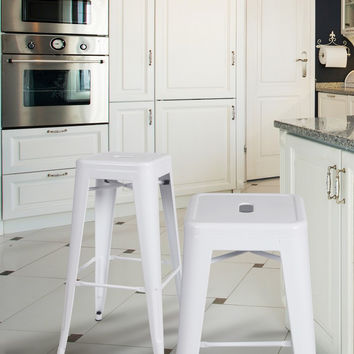 Tolix Style Industrial Chic Chair Counter Stool Barstool Glossy White 30 inch Metal (Set of 2)