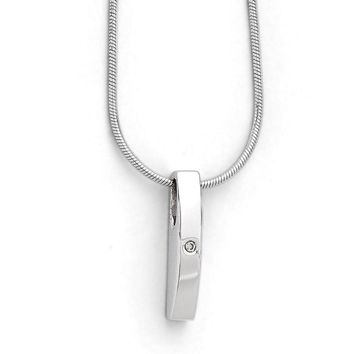 Diamond Accent Vertical Bar Adjustable Silver Necklace, 18 Inch
