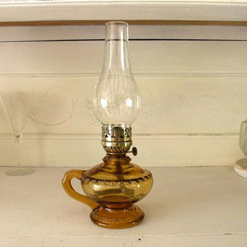 Exceptional Small French Amber Glass Oil Lamp, French Country Home, Vintage Oil Lamp,  Hand