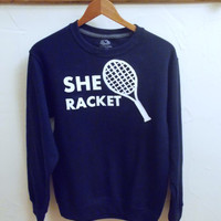 She Racket Unisex Crew neck pullover Sweatshirt - Sizes M - XL Unisex, navy and white