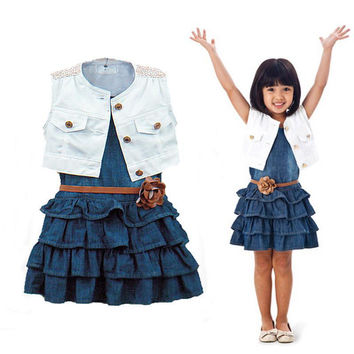 Baby Girl Kids Outfit Clothes Coat+Denim Dress 2pcs Outfits Set Belt US Stock