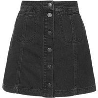 TALL MOTO Black Button Front Skirt - Black