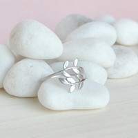 Laurel Leaf Ring in Silver from p.s. I Love You More Boutique