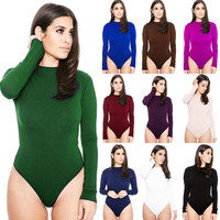 Sexy Women Long Sleeve Shirt Jumpsuit Bodysuit Stretch Leotard Tops Blouse TShirt Slim Rompers T Shirt Short Bodysuit