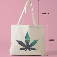 TBAG-512 - Galaxy Marijuana - Galaxy Weed - Funny - Indie - Printed Tote Bag Canvas - by HeartOnMyFingers
