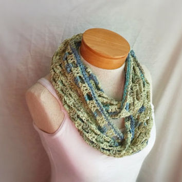 crochet spring cowl scarf light weight cotton linen loop wrap shrug gold olive green teal aqua turquiose infinity