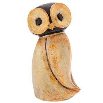 Brown & Orange Owl Figurine