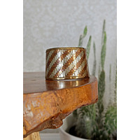 Vintage 1960s Mixed Metals + Woven Cuff Bracelet
