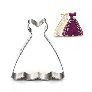 Wedding Dress Princess Gown Cookie Cutter Biscuit Jelly Fondant Cake Mold Kitchen Tools (Color: Silver) = 1932493764