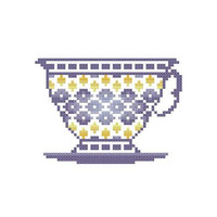 Blue Teacup  -  PDF Cross Stitch Pattern - INSTANT DOWNLOAD
