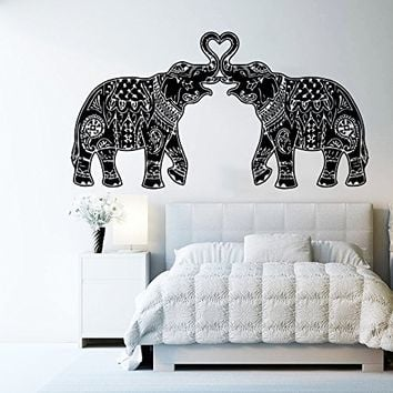 Wall Decal Vinyl Sticker Decals Art Home Decor Murals Indian Elephant Floral Patterns Mandala Tribal Buddha Ganesh Bathroom Bedroom Dorm Decals AN14