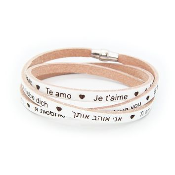 I Love You Genuine Italian Leather Wrap Bracelet Engraved 23 Languages, 925 Silver - Beige