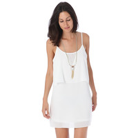 WHITE STRAPPY LAYERED MINI DRESS