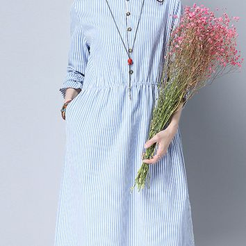 Casual Band Collar Pocket Vertical Striped Shift Dress