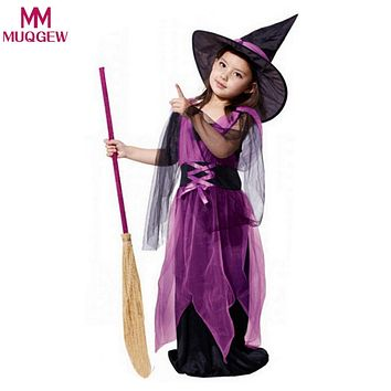 2018 New Costumes Witch Dress For Girl With Hat Cap Party Cosplay Dress Clothing Kids Girl Cartoon Performance Dress