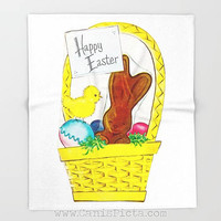 Vintage Easter Chocolate Bunny Blanket Unique Throw Home Decor Decorative Gift Retro Room Bed Baby Rabbit Egg Yellow Chick Card Grass Basket
