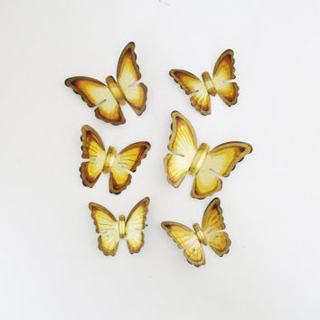 Vintage Brass Butterfly Wall Hanging 6 Brass Butterflies Wall Art Set of 3D Butterflies Golden Metal Butterfly Vintage Wall Art Boho Decor