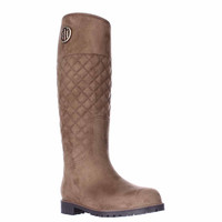 Tommy Hilfiger Babette Quilted Rain Boots, Medium Brown, 10 US